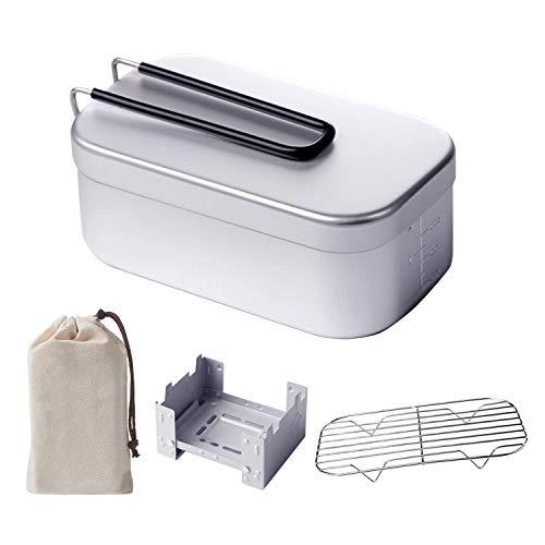 RAYKING メスティン 網付き アルミ製飯盒 アウトドア専用3点セット 折りたたみストーブ付き キャンプ用品 軽量 コンパクト 各種調理法適用 安全 食器