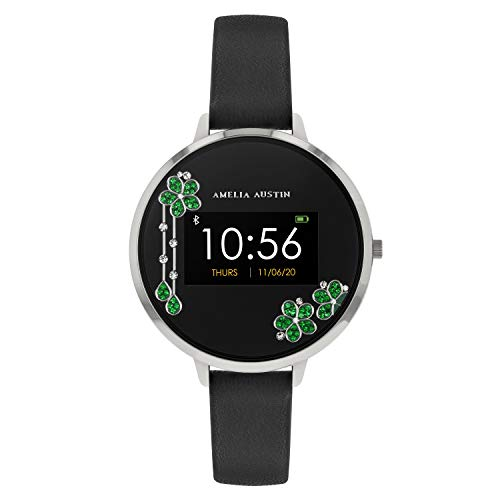 Amelia Austin Reloj Inteligente para Mujer, Pulsera de Actividad con Monitor de Sueño y Calorías, Podómetro, Correa de Piel Negra, Compatible con iPhone y Android, Diseño Cascada de Plata