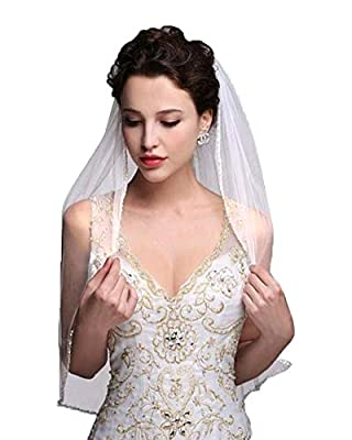 JINGDRESS Short Bridal Veils with Comb 1T Rhinestone Elbow Wedding Veil