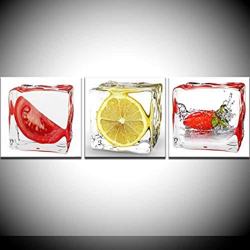 kldfig Tomaten citroen aardbeien in rijst, abstract schilderijen, moderne wandposter Nordic linnen schilderij voor woonkamer decoratief - 40x40cmx3 niet ingelijst