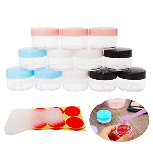 GreatforU 12 Stück 15g Leere Probengläser Behälter Proben, 15ml Transparente Kosmetik Behälter mit Deckel für Make-up, Lidschatten, Nägel, Perlen, Lipgloss, Balsam, Badlotion, Gesichtscreme, Salben