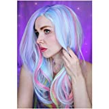 PATTNIUM Rainbow Wig Long Wavy Colorful Wig...