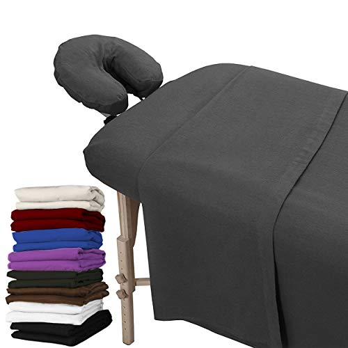 London Linens Extra Thick 100% Cotton Flannel Massage Table Cover Sheet 3 Piece Set (Greenish Grey)