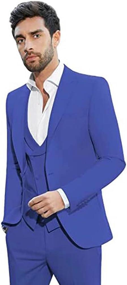 Men's Peak Lapel 3 Pieces Slim Fit Suit Business Blazer Wedding Groom Tuxedos Prom Suits