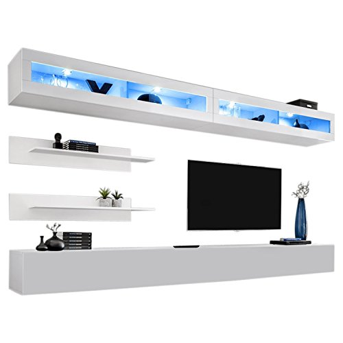MEBLE FURNITURE & RUGS Wall Mounted Floating Modern Entertainment Center Fly I (White, I2)