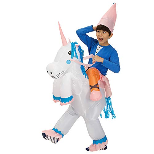 rushopn Ride on Unicorn Inflatable Costume Halloween Xmas Carry Me Jumpsuit for Adult/Child Pink Corn Child