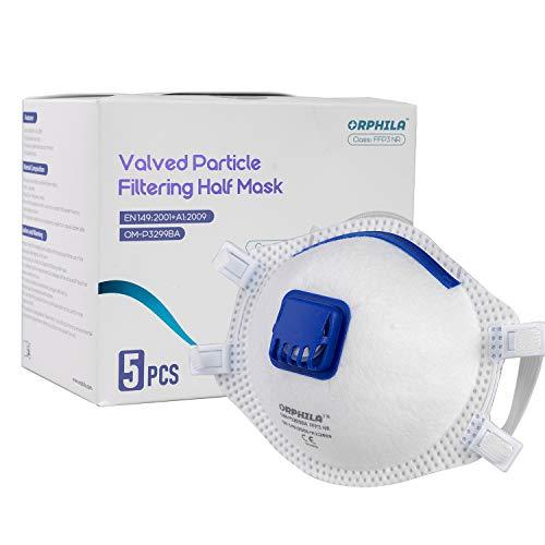 5 PCS ORPHILA Maske FFP3 mit Luftventil Komfort Dichtung Hälfte filtern Maske EN149:2001+A1:2009 Atemschutzmaske