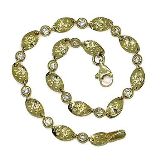 Pulsera de oro amarillo de 18k para mujer con circonitas y eslabones calados ondulados. 19.00 cm larga. Cierre mosquetón. Peso; 4.10 gramos de oro de 18k.