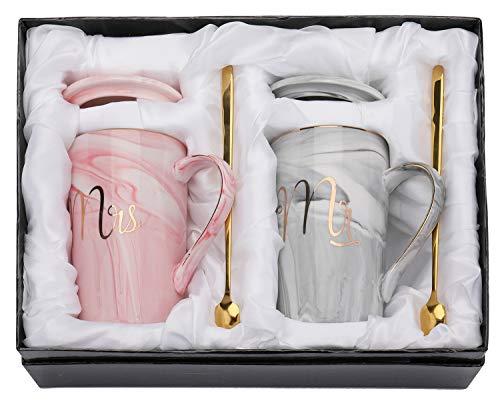 Yesland Kaffeetassen mit Deckel und Löffel Mr. & Mrs Hochzeitsgeschenke, 400ML