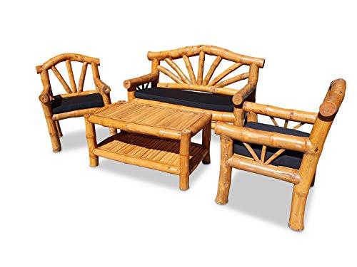 Kinaree Bamboe zitgroep UBUD - tuin zitgroep bestaande uit tuinbank, twee stoelen, tuintafel - incl. zitkussens