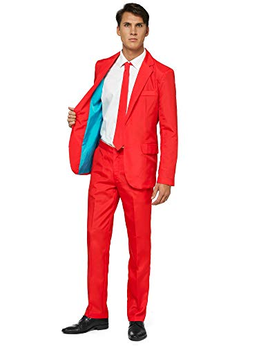 Offstream Plain Colored Suits for Men – Costumes Include Jacket Pants and Tie, XL, Plain Red
