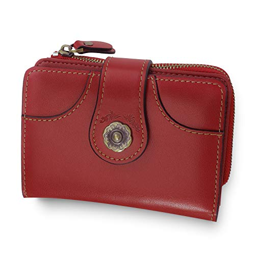 Damen Geldbörse Echtes Leder Klein RFID Schutz Vintage Frauen Portmonee Upgrade-Reißverschlusstasche mit Geschenkbox Leder - Rot