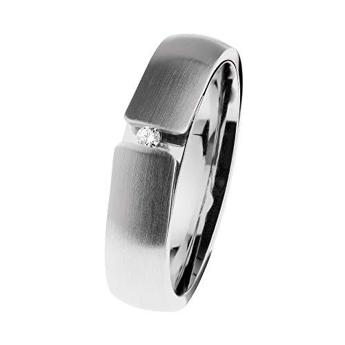 Ernstes Design R510 - Anello in acciaio INOX con diamante 0,02 ct tw/si, misura 48-65