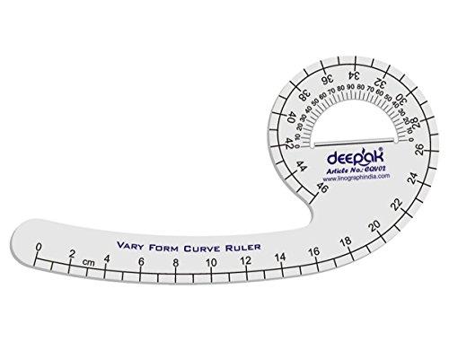 LINOGRAPH Franska skeppets kurva skala metrisk varierande form kurva design framställningsregulator (White)Design-2