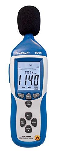 PeakTech 8005 - Schallpegelmessgerät Klasse 2 mit Aufzeichnung (32000 Messwerte), Kalibriert, Schallpegelmessung mit USB, dB-Messgerät, dB Messer, Min/Max, Datenlogger, AC/DC-Ausgänge, 30 dB - 130 dB
