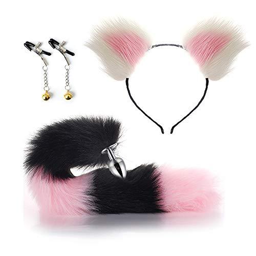 YRYH Flauschiger Fuchsschwanz BụṫṫPlụg künstliche Katzenohren Stirnband Ornamente Nǐpplě Clip Zubehör Maskerade Requisiten weiß 40mm (L)