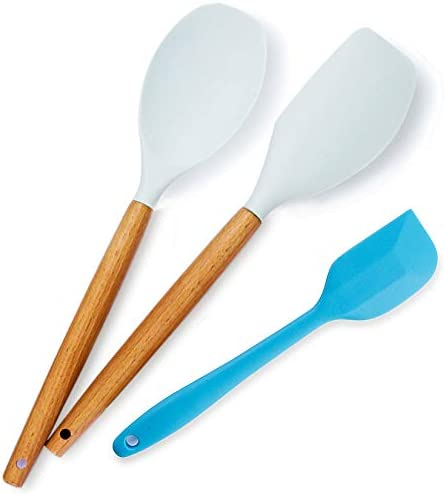 Heat Resistant Silicone Spatulas Set for Nonstick Cookware Wooden Handle Spatulas Light Blue product image