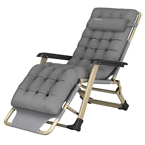 ZHJYD Household products Sun Lounger Recliner Chairs Foldable Reclining Chair with Padded Cushion Outdoor Camping, Beach Deck Chair - Gray