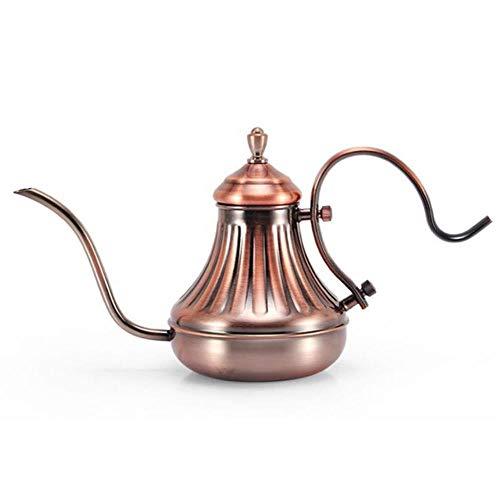 Koffiezetapparaat Karaffen Fijne mond Zwanenhals Koffiepot Lange schenktuit Giet over druppel Koffieketel Brons 304 Roestvrij staal DIY Koffiezetapparaat Theepot, 420ml