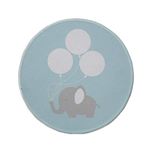 Rutschfreies Gummi-Rundmaus-Pad, Elefanten-Kinderzimmer-Dekor, kleines Elefantenbaby mit großen Luftballons Happy Funny Icon, lila hellblau-weiß, 7,87 'x 7,87' x3 mm
