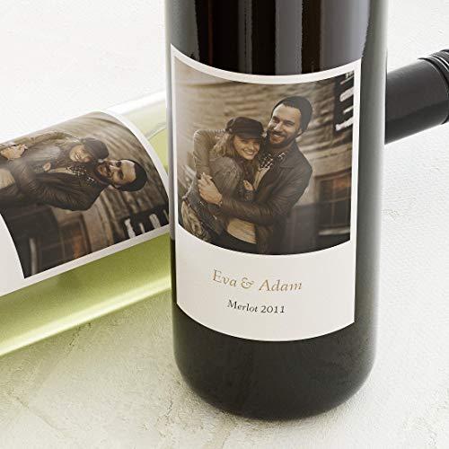 Klebeetiketten, Plus, Aufkleber, Weinetiketten, selbstklebend, personalisiert mit Wunschtext & persönlichem Foto zur Hochzeit, Label für Flaschen, als Geschenk, Hochformat, ab 10 Stück