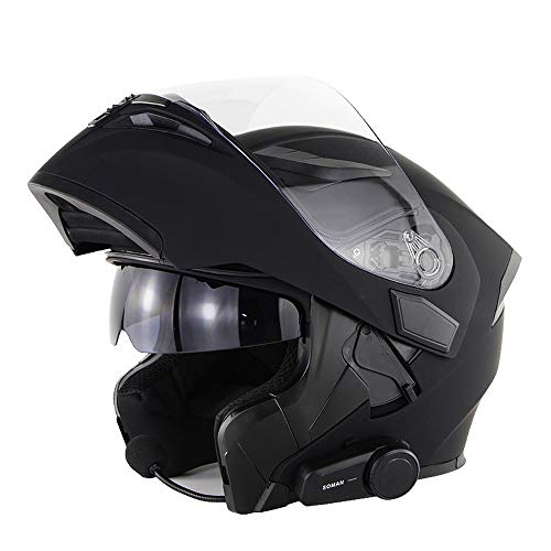 SMINNG Casco De Moto con Bluetooth,Casco Modular De Motos Integrado ECE Homologado para Patinete Electrico Motocicleta Bicicleta Scooter con Gafas De Doble Protección Mujer Y Hombre