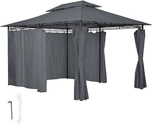 Tiendas de lujo tienen 6 carpas de placa lateral, cortinas de placa lateral, impermeable, terraza de jardín Party Anti-UV,Black