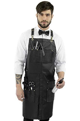 Under NY Sky Barber Black Apron - Leather Straps, Pockets, Reinforcements - Crossback - Coated Black Twill, Tool Pockets, Split-Leg – Adjustable for Men, Women – Barista, Bartender, Hairstylist, Salon