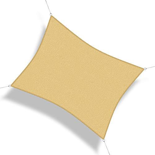Corasol 160231 Premium Sonnensegel, 6 x 5 m, Rechteck, Wind- & wasserdurchlässig, sandbeige