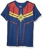 Marvel Captain Marvel Uniform Costume Juniors Womens Avengers T-shirt(Navy,XXXL)