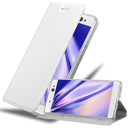 Cadorabo Hülle für Sony Xperia XA Ultra in Classy Silber - Handyhülle mit Magnetverschluss, Standfunktion & Kartenfach - Hülle Cover Schutzhülle Etui Tasche Book Klapp Style