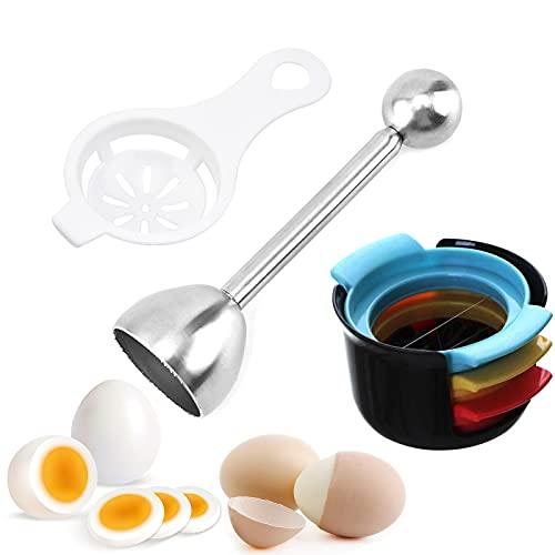 IYOYI 5 in 1 Eierschneider, 3-in-1 Manueller Eierteiler für Scheiben + Eidottertrenne Eigelb Trenner Filter+ Eierköpfer aus Edelstahl Eieröffner