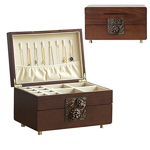QIXIAOCYB Caja de joyería, caja de madera organizador de joyería, caja de exhibición de joyas de 2 capas y organizador con cajón, caja de almacenamiento de la joyería de escritorio para collares, puls
