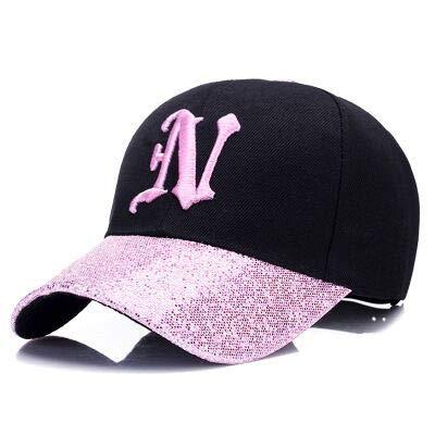 WAZHX Neue Damen Brief Gestickt Baseballkappe Pailletten Mode Lässig Geschwungene Hüte Mädchen Können Hip Hop Hüte 55-59Cm Pink Anpassen