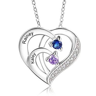 kaululu Mom Gifts Personalized 925 Sterling Silver 2 Birthstones Heart Necklaces for Women with Name Engraved Custom Necklace Mothers Day Birthday Gifts for Mother Grandmother Wife Her
