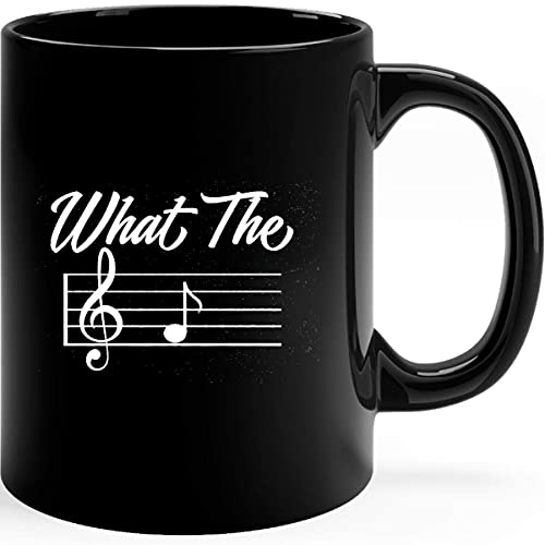 What The F Musical Note Músico Pianista Amante de la música Piano Divertido sarcástico Novedad Regalo B Taza de café