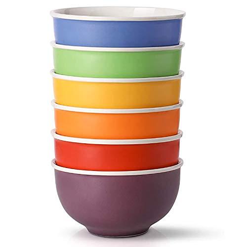 LIFVER Cereal Bowls, Porcelain Bowls Set of 6, 24 Ounces for Soup, Salad, and Dessert, Multicolour