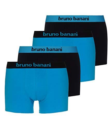bruno banani Herren Boxershorts Unterhosen Flowing 2203-1388 4er Pack, Farbe:Mehrfarbig, Menge:4er Pack (2X 2er), Wäschegröße:M, Artikel:-2150 aquablau/schwarz