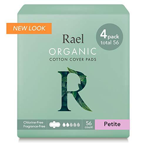 Rael - Almohadillas menstruales de algodón orgánico - Servilletas sanitarias ultra finas y ligeras naturales con alas (pequeña)(paquete de 4)