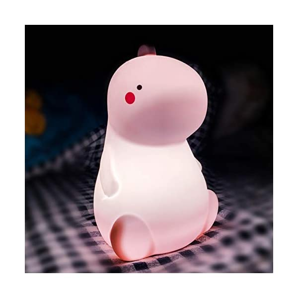Dinosaur Night Light for Kids,Color Changing Baby LED Nursery Lamp,Baby Gifts for Cute Room Decor,Silicone Baby Room Lights with Touch Sensor,Perfect Gifts for Baby Girls and Boys(Pink)