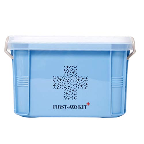 ColiCor 27 x 23,5 x 20 cm, armario medicinal, caja de medicinas domésticas, kit de primeros auxilios, caja de almacenamiento portátil, 119146NU73786YDNTKN, Azul nórdico., large