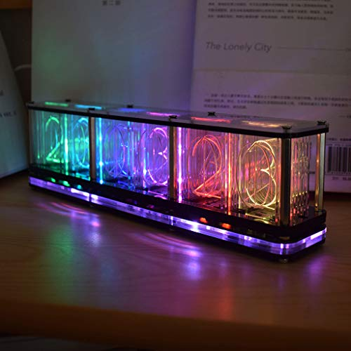 AIUII Despertador digital DIY Kits RGB LED imitar tubo incandescente reloj LED espectro musical reloj reloj luz nocturna color completo RGB Home Decoration regalo