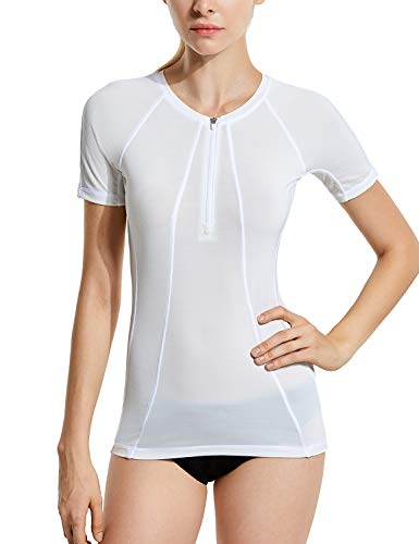 SYROKAN Damen Rash Guard Badeshirt UPF 50+ Kurzarm UV Shirt Weiss 38