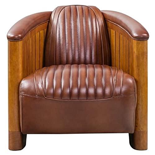 Casa Padrino Sillón de Cuero auténtico Art Deco de Lujo marrón/marrón Claro 90 x 71 x A. 71 cm - Sillón de Madera Maciza con Cuero Sillón Lounge - Muebles Art Deco de Lujo