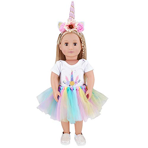 E-TING Dolls Unicorn Clothes, Headband, Tutu fits for 18 inch Dolls Like American Girl Doll, Our Generation,My Life,Adora,Gotz Doll Accessories Costume Outfits