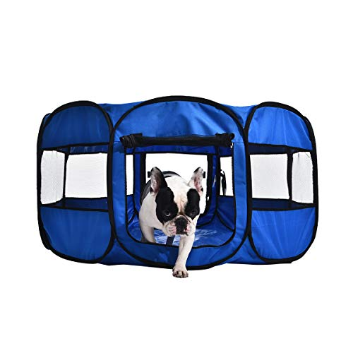 Amazon Basics – Corral para mascotas suave y transportable, 114 cm, Azul
