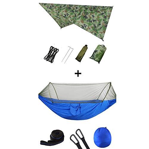DJNCIA Hängematte im Freien Tragbare Hängematte im Freien mit Moskitonetz und Regen-Fliegen-Camping-Rucksack-Bug-Hängematten und Netting-Parachute-Hängematten-Baldachin für Patio Yard Garden