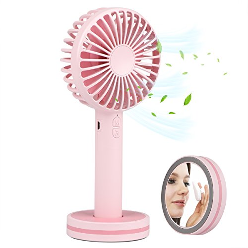 Accering Mini Portable Handheld Fan with Makeup Mirror, 2000mAh Rechargeable Battery Operated Electric Personal Fan for Office, Home, Traveling, Outdoor - Pink