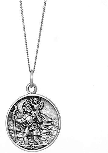 MNMXW Men s Women s .925 Sterling Silver Coin St. Saint Christopher Pendant Necklace18