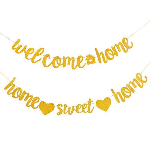 2 Stücke Willkommen zu Hause Banner Heim Süß Banner Einweihung Party Banner für Schule Willkommen Party Familie Party Dekoration, Gold